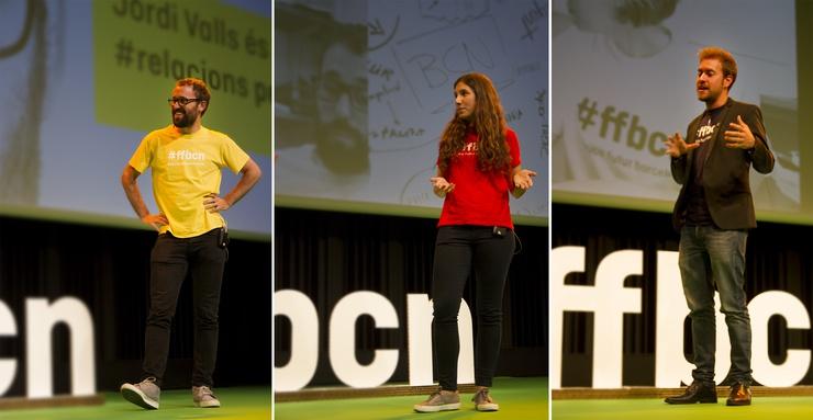 De izquiera a derecha: Jordi Valls, Carmina Solà y Bernat Saumell, tres de los participantes en #ffbcn